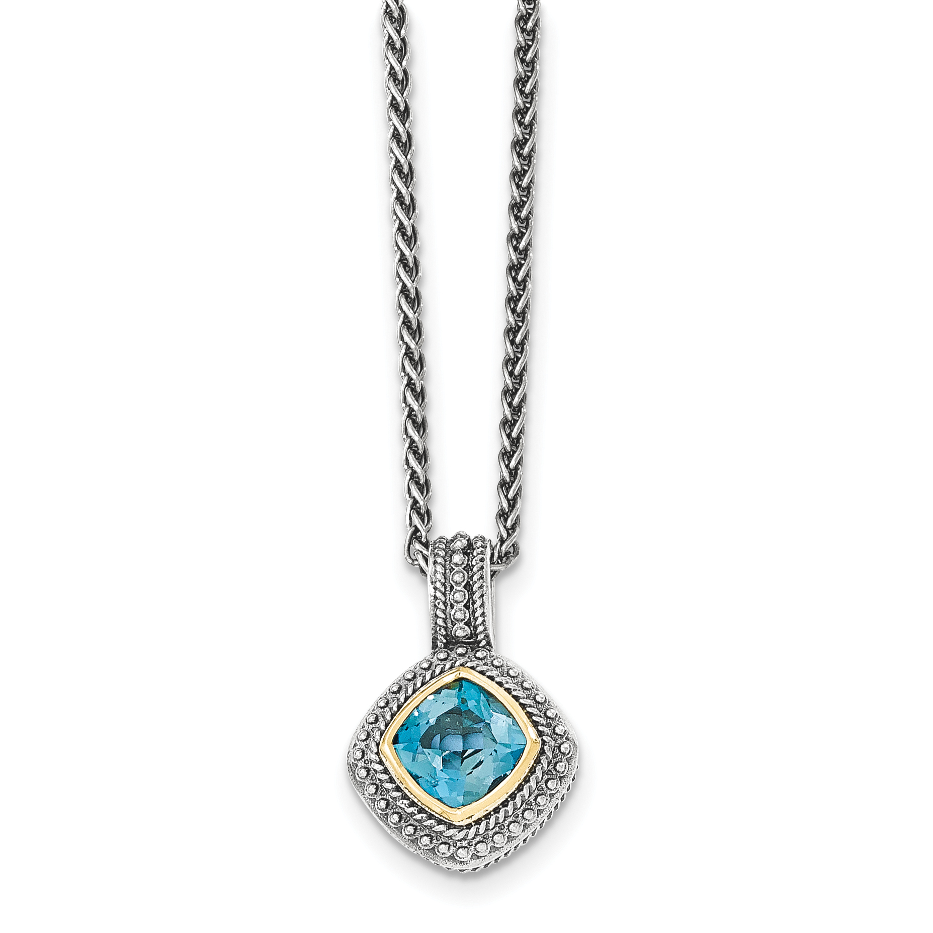 Sterling Silver w 14k London Blue Topaz Necklace by Saris and Things QG