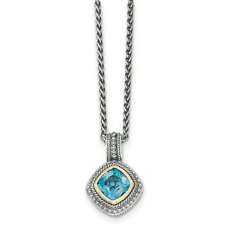 Shey Couture QTC1353 Collier en argent sterling avec topaze bleue de Londres en or 14K, vieilli - image 2 de 2