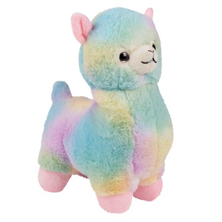 Blue Panda Llama Stuffed Animal - Daisy The Rainbow Alpaca Soft Plush Toy, Kids Birthday Gift, Party Prizes for Girls, 6.5 x 9 x 3.5
