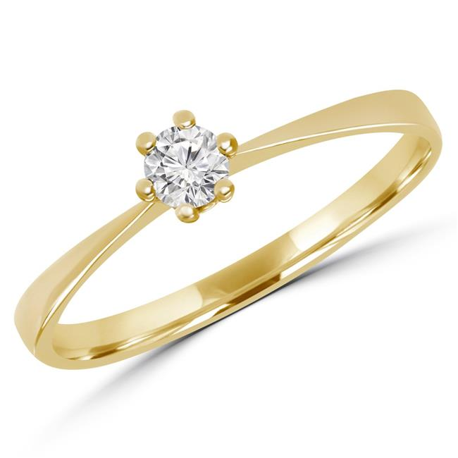 Majesty Diamonds MD170154-8.5 0.16 CT Round Diamond Solitaire Engagement Ring in 10K Yellow Gold - 8.5 - image 1 of 1