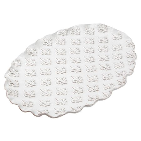 Mud Pie Fleur De Lis Platter White Walmart Com