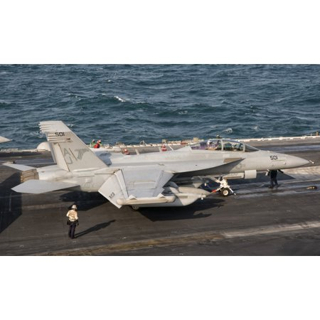 An Ea 18G Growler Is Ready For A Mission Aboard Uss George Hw Bush Canvas Art   Giovanni Collastocktrek Images  36 X 22