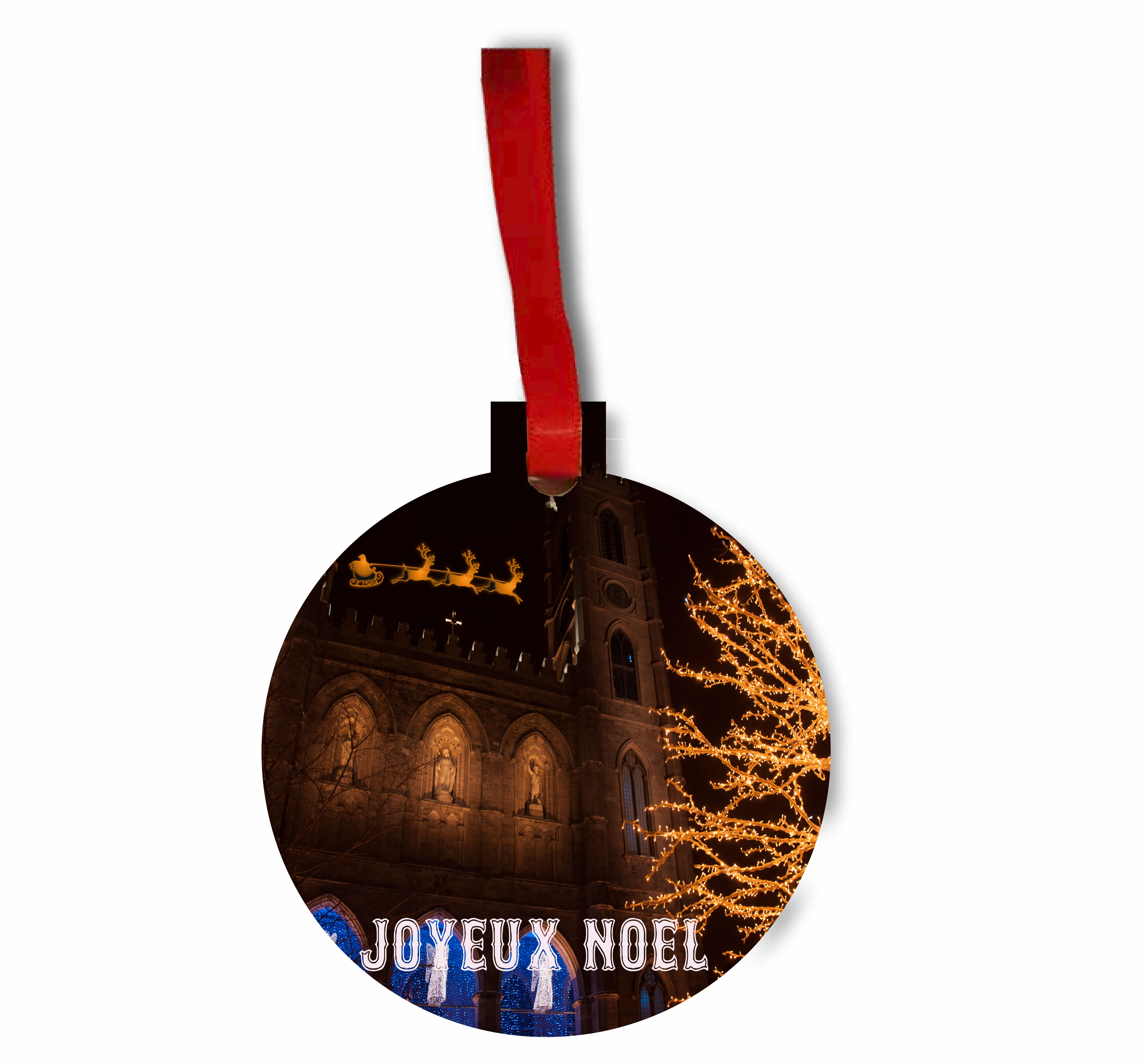 Santa and Sleigh Riding Over The Notre Dame Cathedral on Christmas Eve TM Flat Round-Shaped Hardboard Holiday Tree Ornament Made in the USA