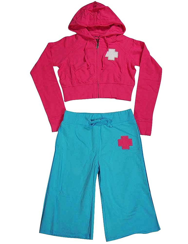Rebelette - Big Girls Hoodie and Capri Sweatsuit hot pink/turquoise / 14/16