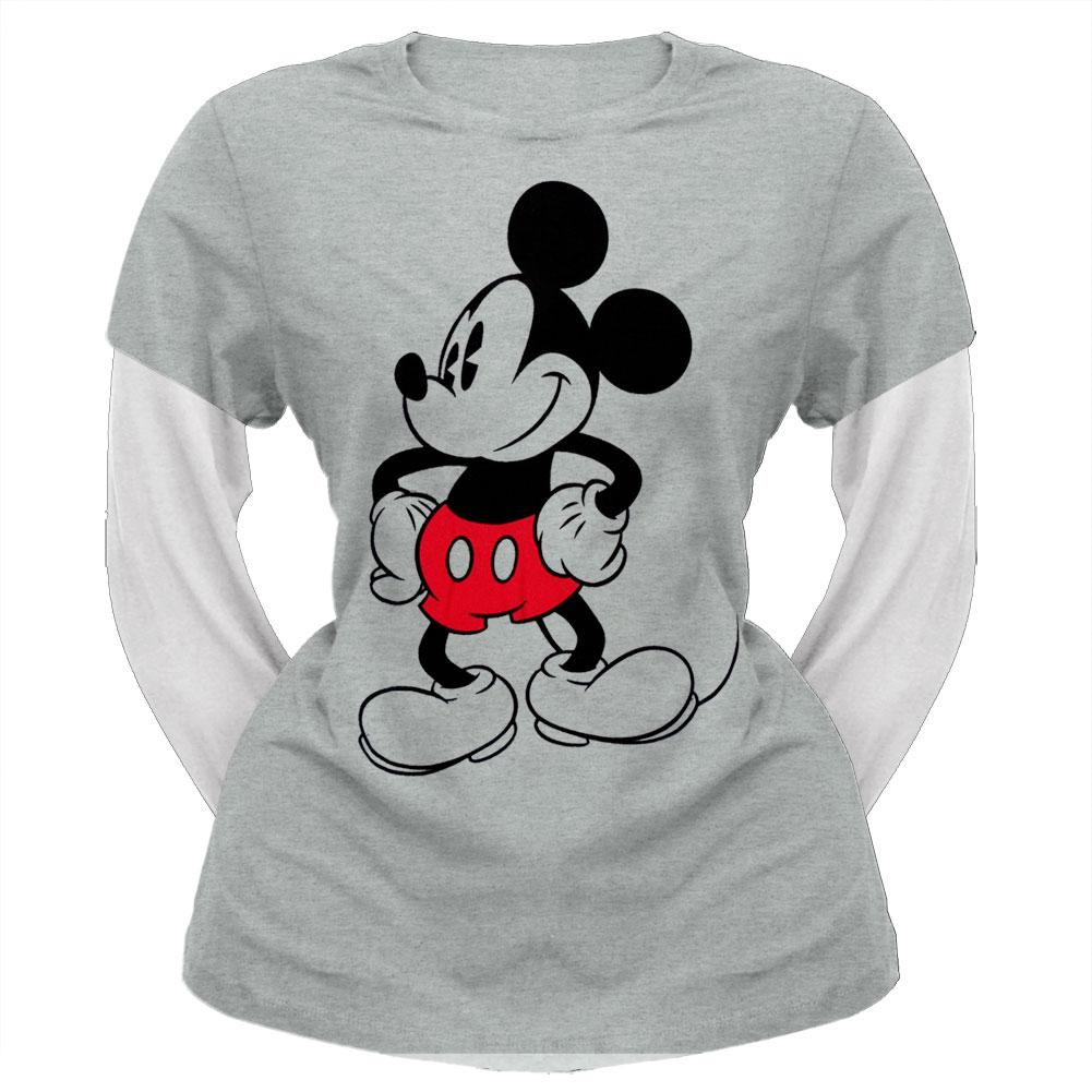 Mickey Mouse - Standing Juniors 2Fer Long Sleeve T-Shirt