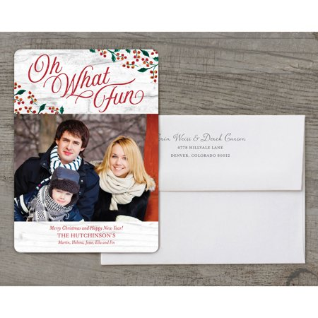 oh what fun deluxe 5x7 personalized holiday christmas card