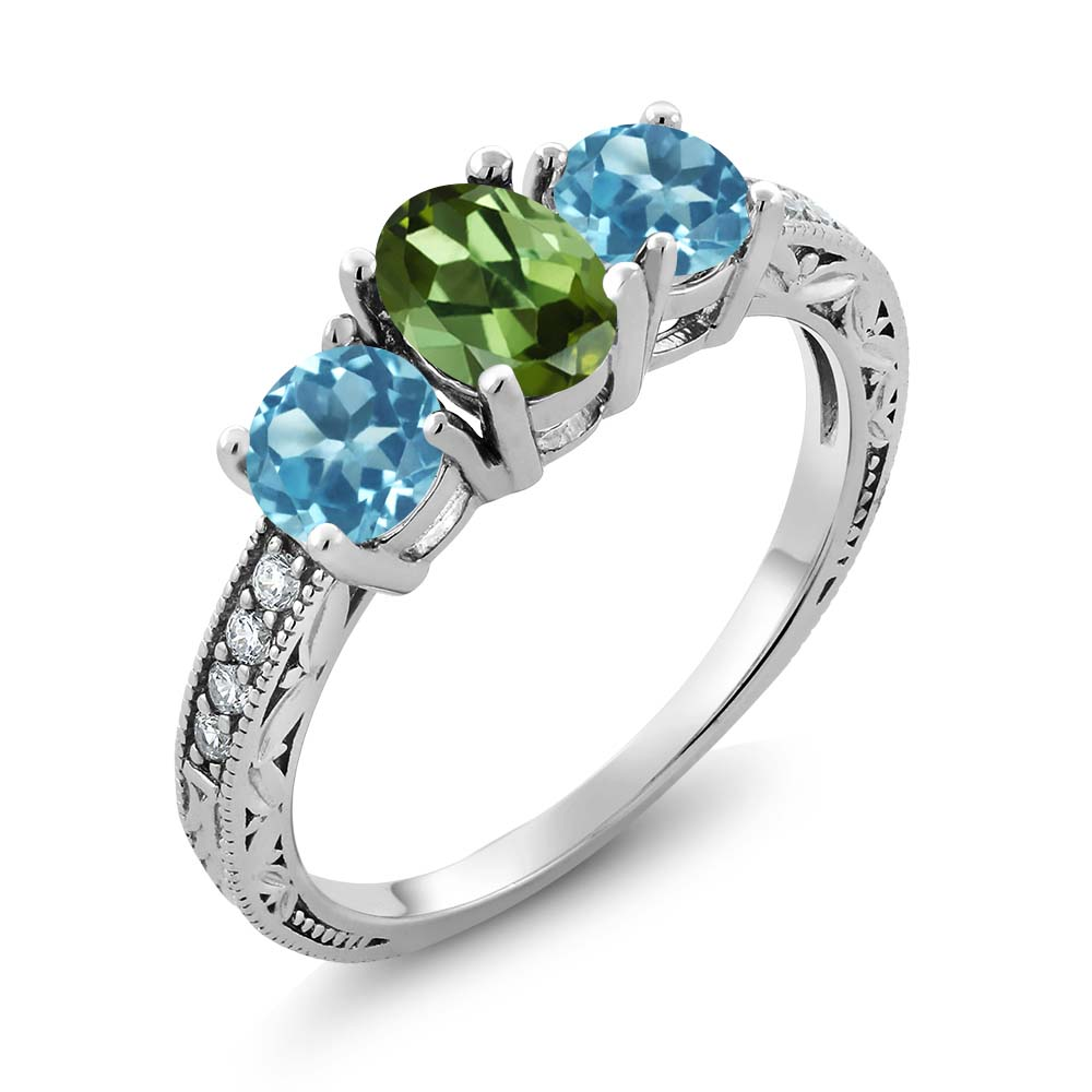 1.82 Ct Oval Green Tourmaline Swiss Blue Topaz 14K White Gold Ring by