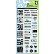 "Inkadinkado Inchie Clear Stamps, 4"" x 8"" Sheet, Greetings"