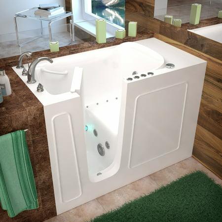 MediTub Walk-In 26 x 53 Left Drain White Whirlpool & Air Jetted Walk-In  Bathtub - 2653LWD