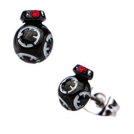 - Star Wars Jewelry Unisex Adult Episode 8 BB-8 3D Stainless Steel Stud Earrings, Silver/Black, One Size