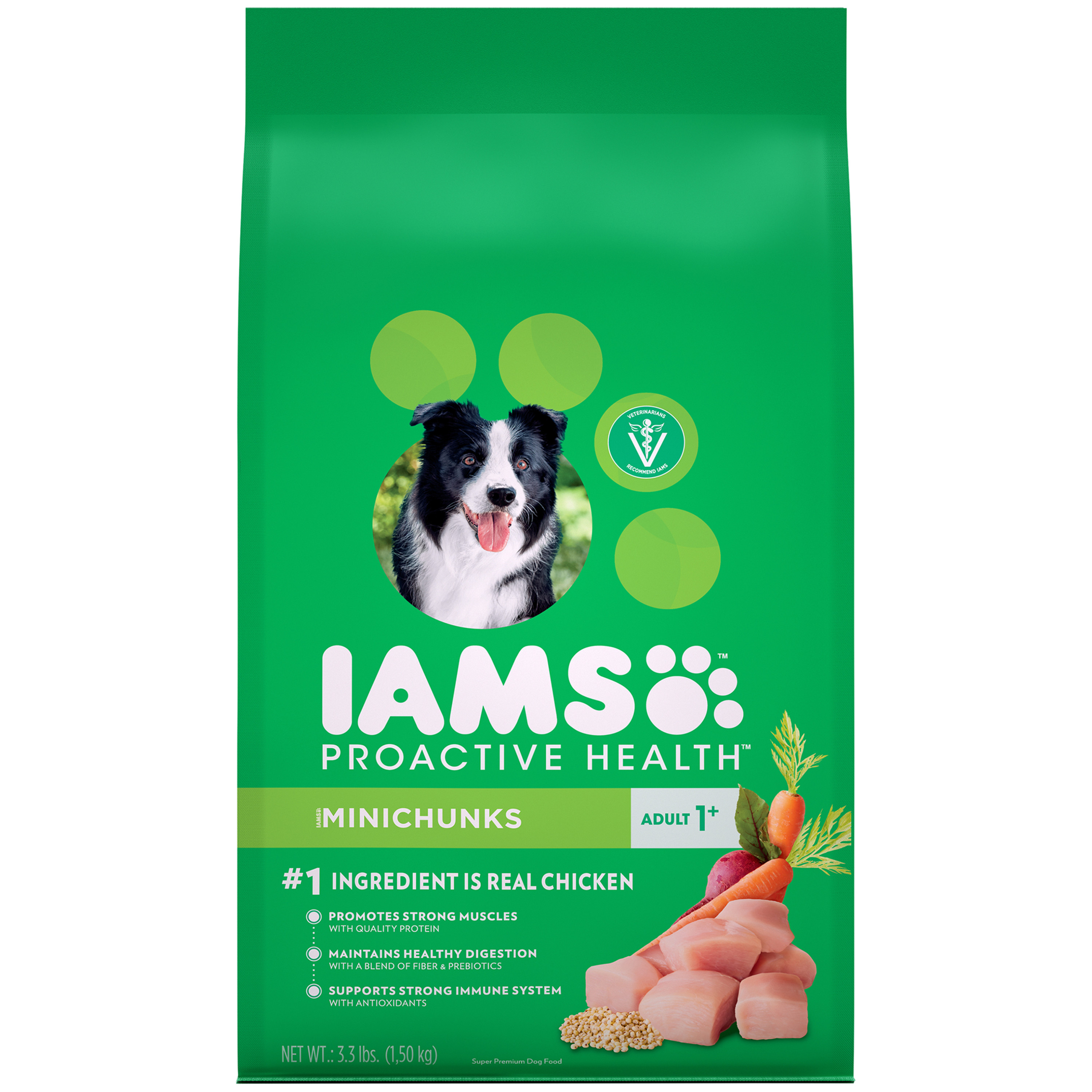 IAMS ProActive Health Minichunks Dry Dog Food for All Dogs – Chicken, 3.3 Pound Bag