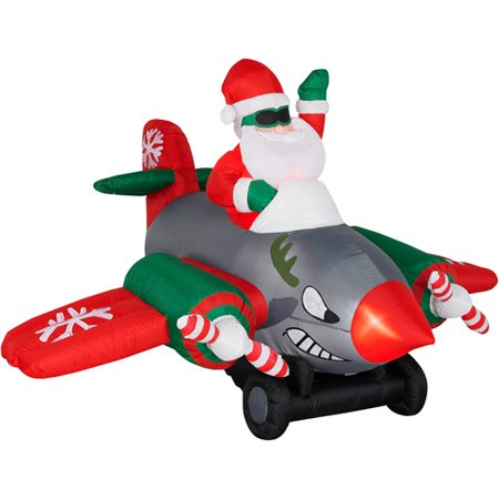 animated airblown inflatable santa in twin prop airplane christmas