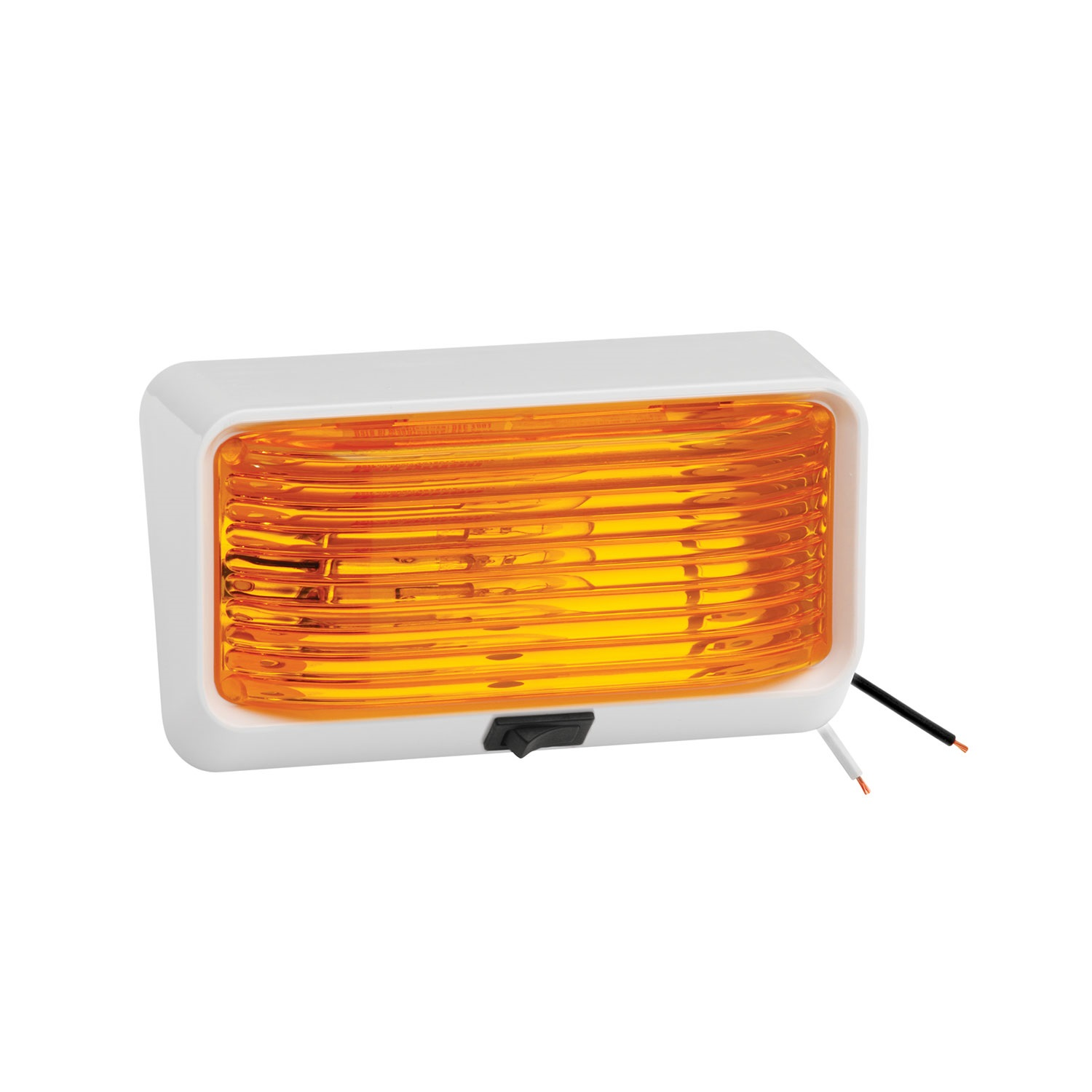 Bargman 30-78-518 Porch Light; For 78 Series; Amber; w Ash White; 5 Base; Switch; by Bargman