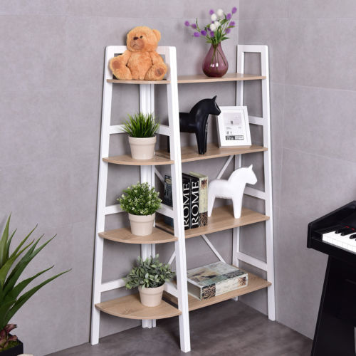 Costway 4 Tier Wood Corner Bookcase Ladder Shelf Wall Unit Bookshelf Display Stand Rack by Costway