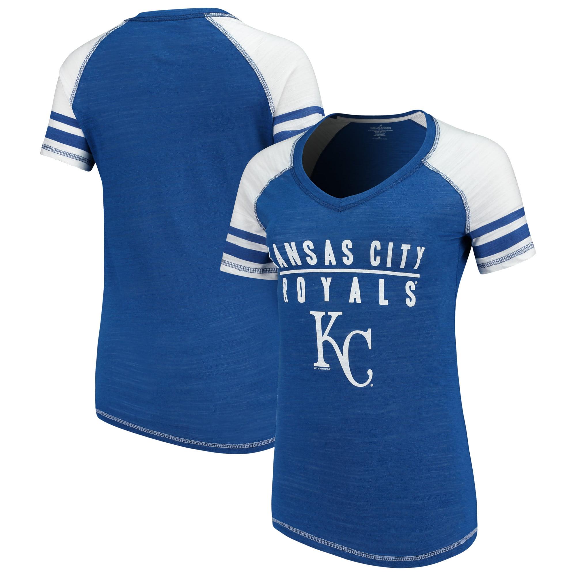 Kansas City Royals Soft as a Grape Women's Color Block V-Neck T-Shirt - Royal