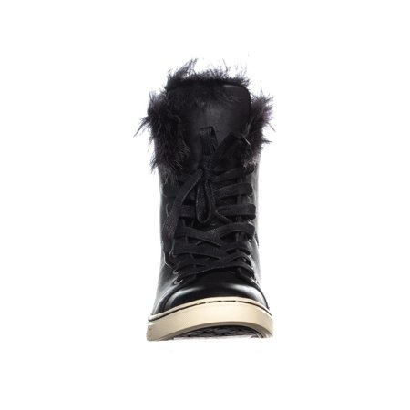 UGG Australia Croft Sheepskin Lace Up Fashion Sneakers, Black - image 1 of 6