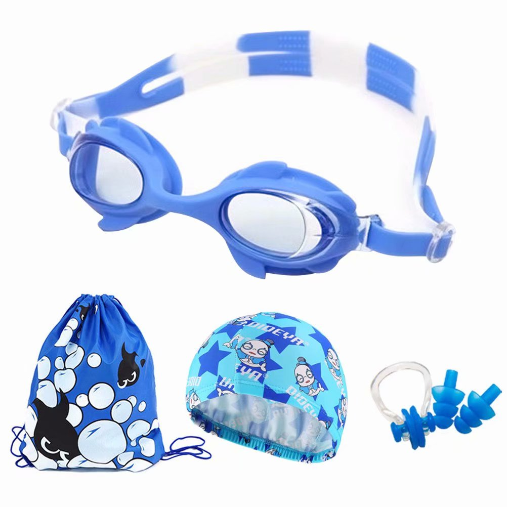 Kids Swimming Goggle,Outdoor Children's Waterproof Anti-Fog HD Swimming Goggles Swimming Cap Set-Light Blue by