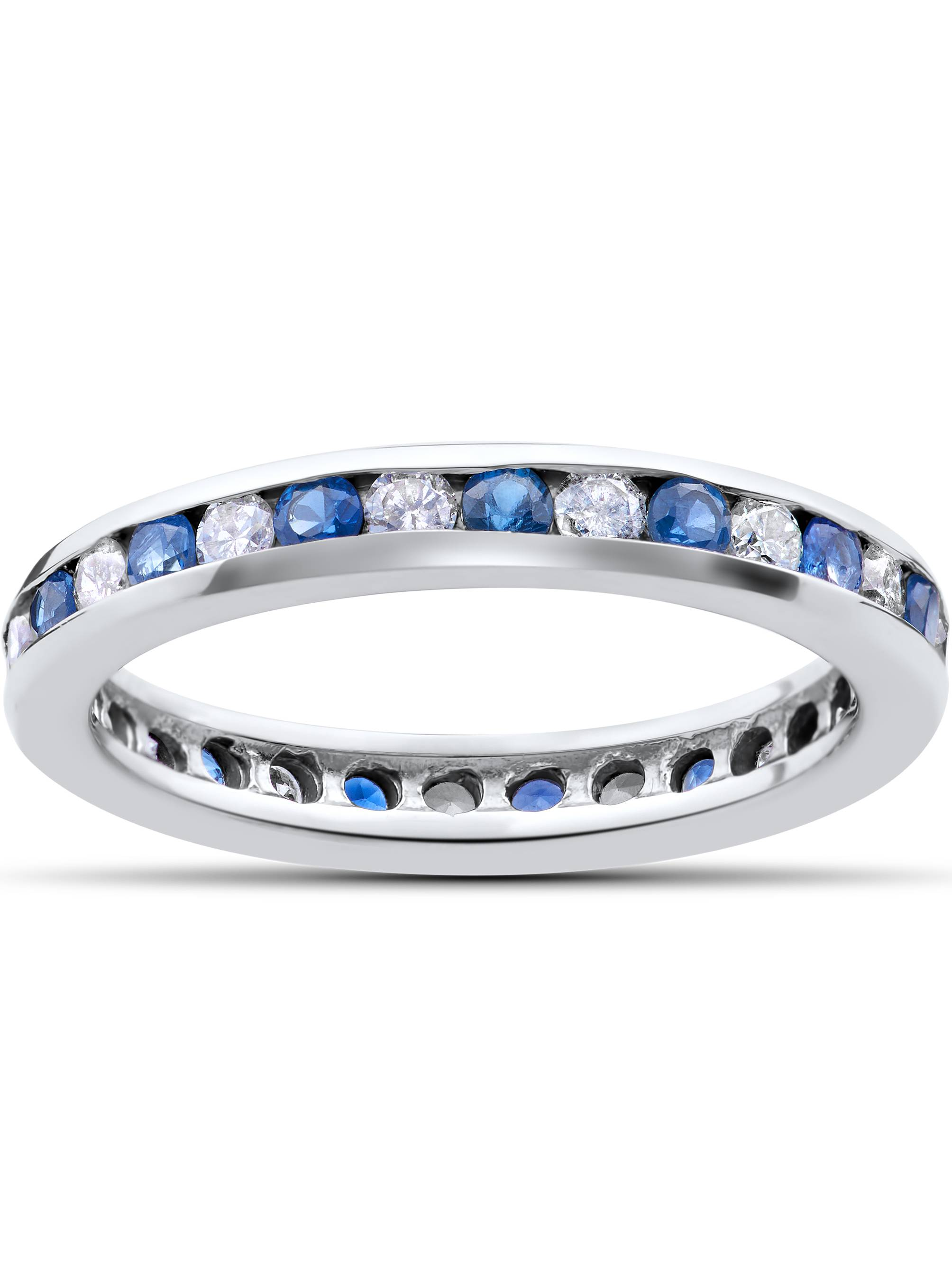 1 Ct Blue Sapphire & Diamond Channel Set Eternity Wedding Ring 14K White Gold by Pompeii3