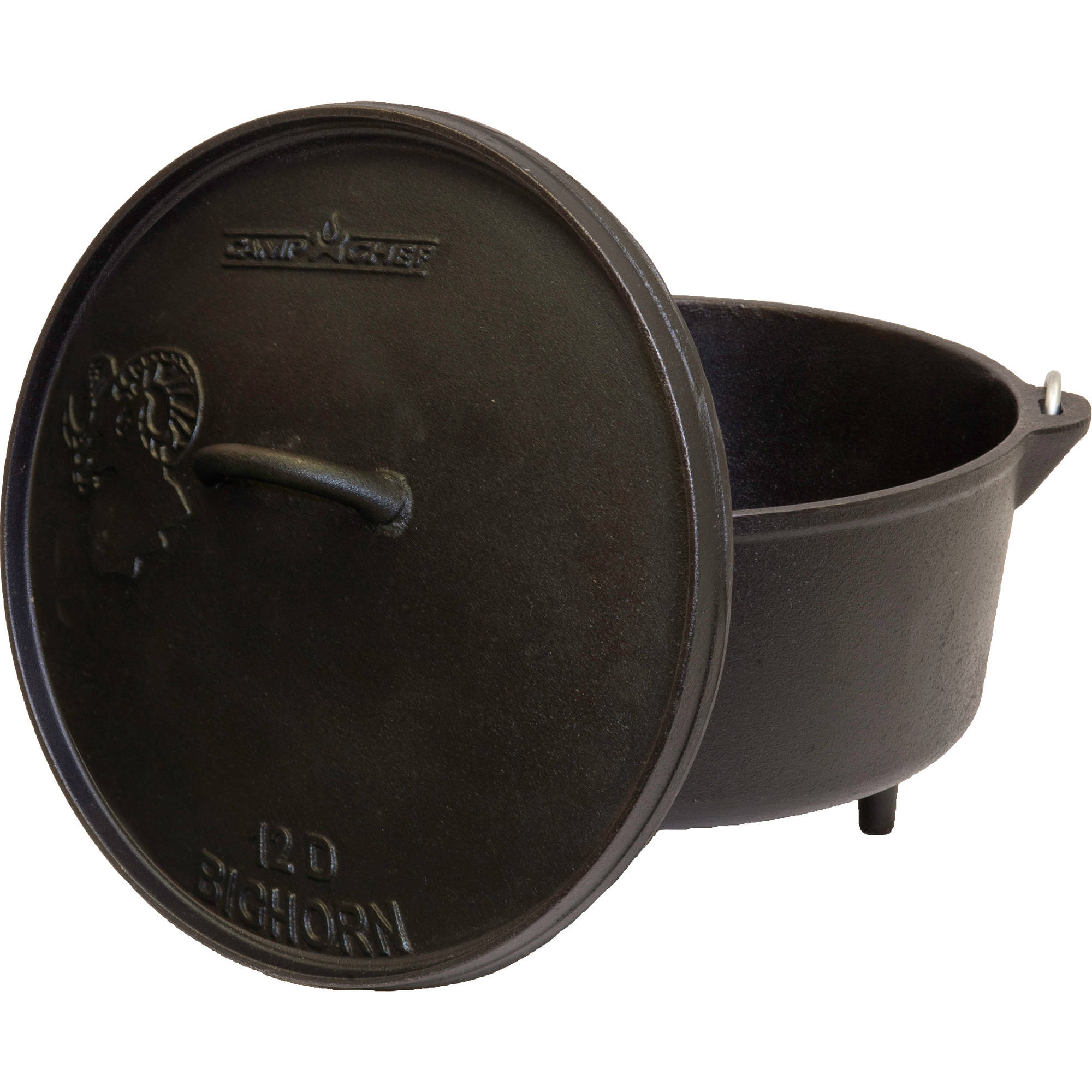 "Camp Chef 12"" Cast Iron Deep Dutch Oven with True Seasoned Finish"