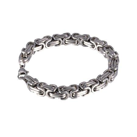 - Stainless Steel Mens Byzantine Hip Hop Chain Bangle Fashion Heavy Biker Bracelet