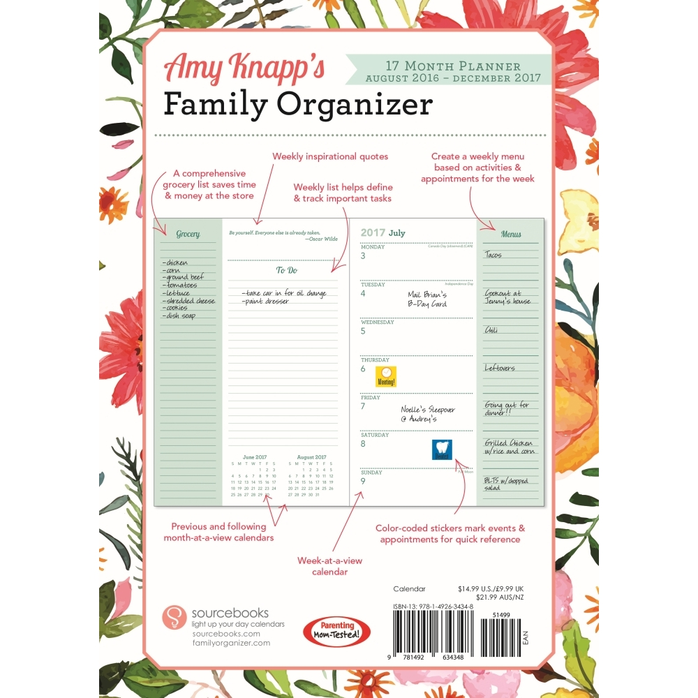 Amy Kn S Family Organizer Softcover Weekly Planner 2017 By Sourcebooks