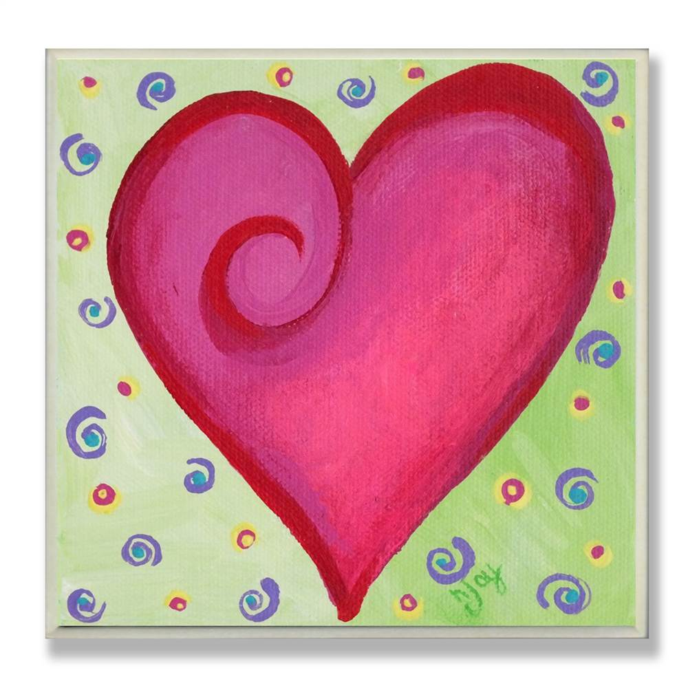 Red Heart with Swirl Square Wall Plaque
