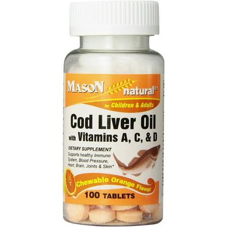Mason Natural Cod Liver Oil Chewable Tablets, Orange Flavor 100 (Natural Orange)