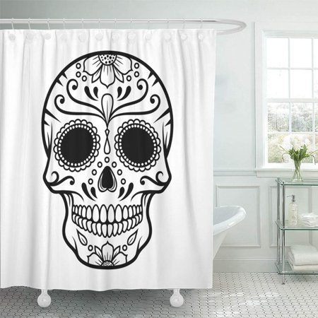 PKNMT Black Dead of Skull the Day Death White Sugar Line Mask Drawing Mexico Halloween Bathroom Shower Curtain 66x72 inch - Halloween Line Drawings