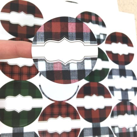 54 Buffalo Lodge Plaid Poly Weatherproof Round Labels - for Essential Oil Aromatherapy Bottle or Jar By Rivertree Life - The Lodge Buffalo Halloween