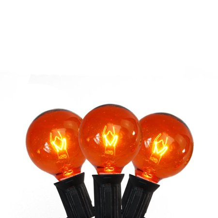 Set of 10 Transparent Orange G40 Globe Halloween Lights - Black - Halloween Water Globes