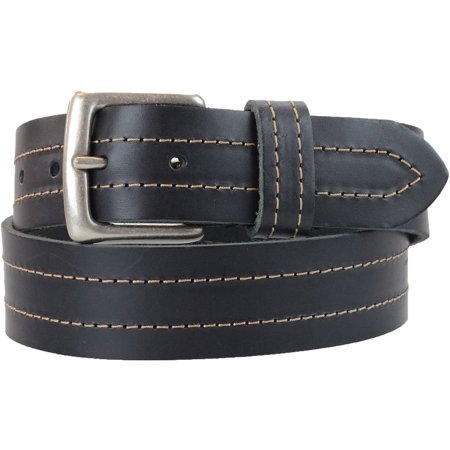 1-1/2 in. US Steer Hide Leather Double Stitch Men's Belt w/ Antq. Nickel Buckle (Double Stitch Leather Belt)