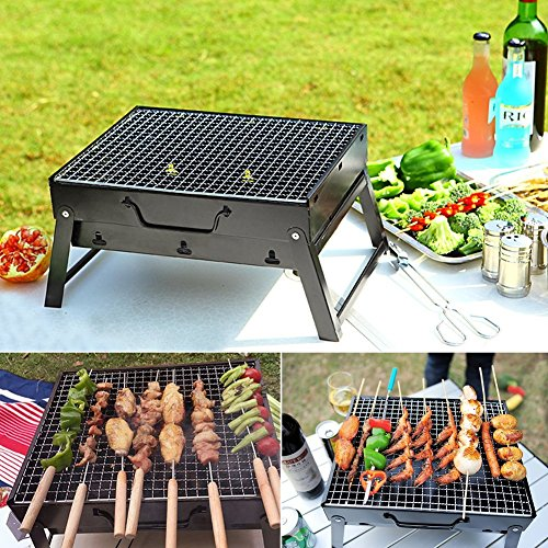 "Charcoal BBQ Grill Folding Portable Stainless Steel Barbecue Grill for Outdoor Camping Cookouts (13.8"" x 10.6"" x 7.7"")"