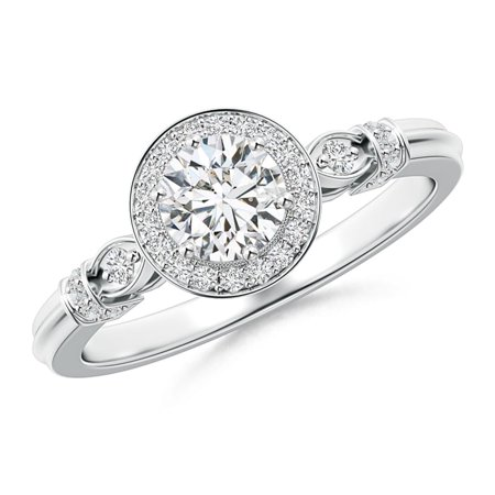 April Birthstone - Vintage Diamond Circle Ring with Diamond Shoulders in Platinum (Weight: (Circle Platinum Ring)