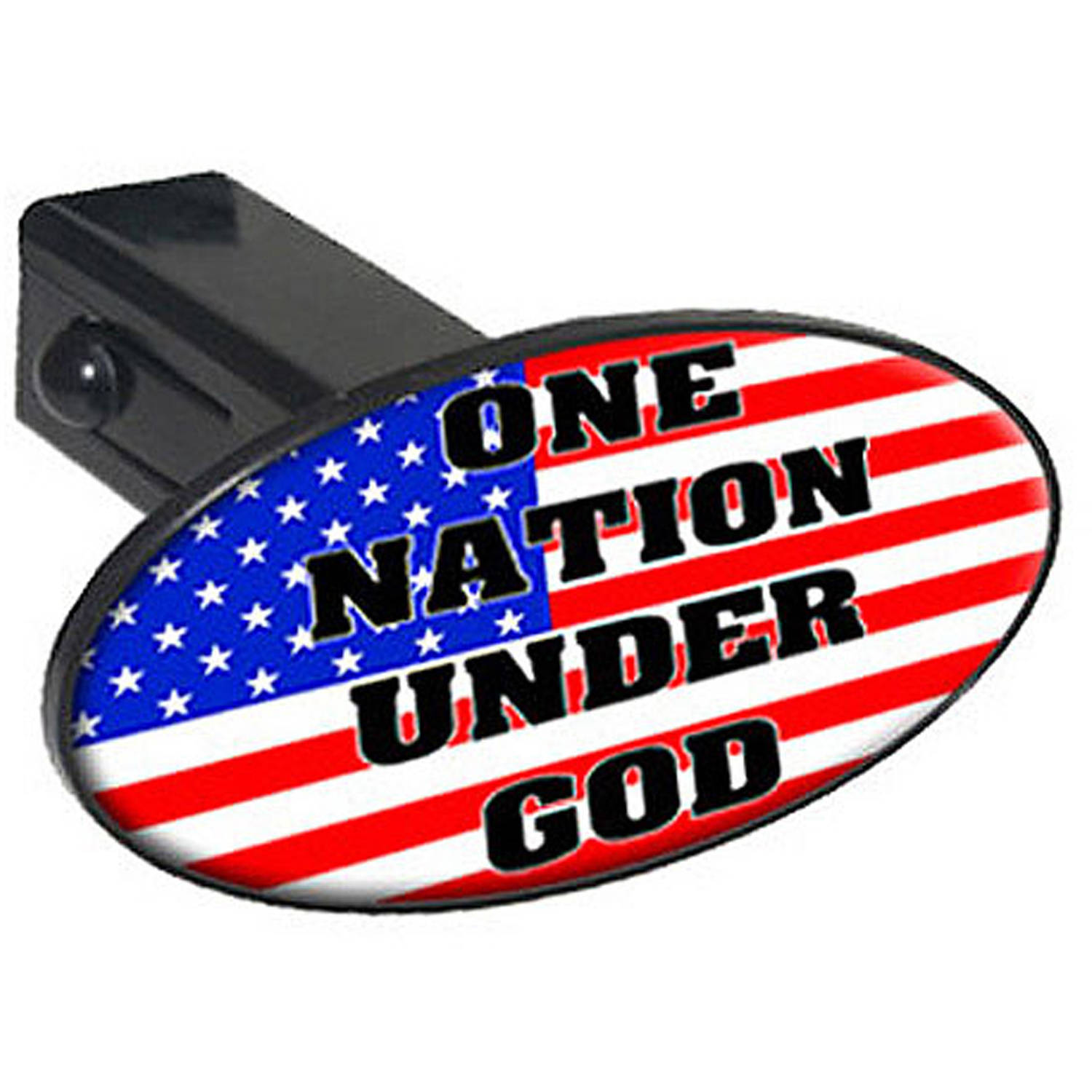 """One Nation Under God, Usa Flag Country, United States 1.25"""" Oval Tow Trailer Hitch Cover Plug Insert"""