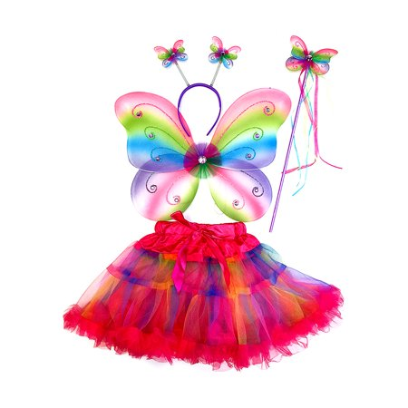 Pretend Play Dress Up Mozlly Neon Rainbow Glittery Butterfly Fairy Tutu Costume (4pc Set) - Rainbow Fairy Costumes