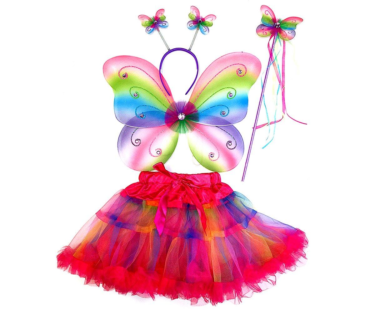 Pretend Play Dress Up Mozlly Neon Rainbow Glittery Butterfly Fairy Tutu  Costume (4pc Set)