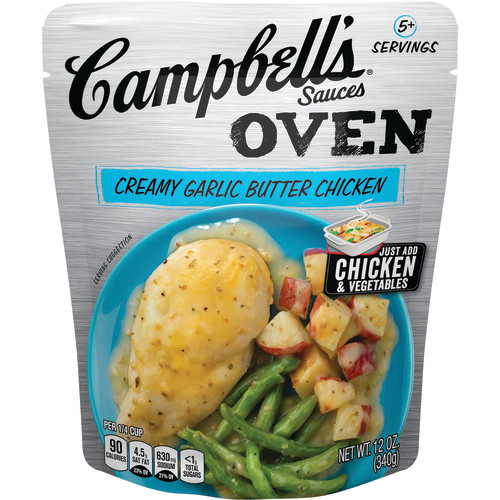 (2 Pack) Campbell's Oven Sauces Creamy Garlic Butter Chicken, 12 oz.