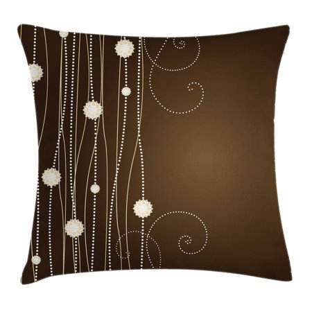 Chocolate Throw Pillow Cushion Cover, Abstract Flowers with Dotted Lines Vintage Inspirations in Romantic Composition, Decorative Square Accent Pillow Case, 18 X 18 Inches, Beige Brown, by Ambesonne