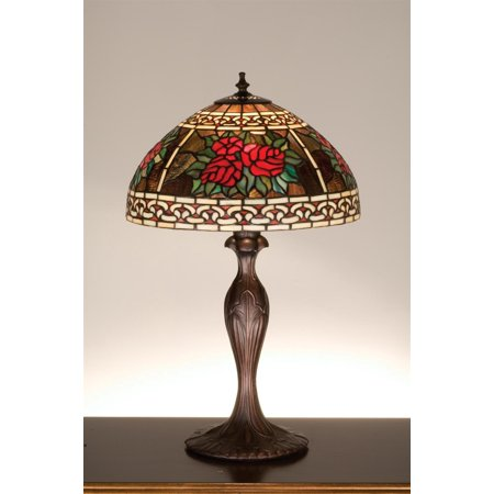 Meyda Tiffany 37789 Stained Glass / Tiffany Table Lamp from the Roses & Scrolls (37789 Roses)