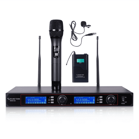 Sound Town Professional UHF Handheld Wireless Microphone System with 200 Selectable Frequencies, LED Display, 1 Handheld Mic, 1 Lavalier Mic, 1 Bodypack Transmitter (NESO-U2HL)