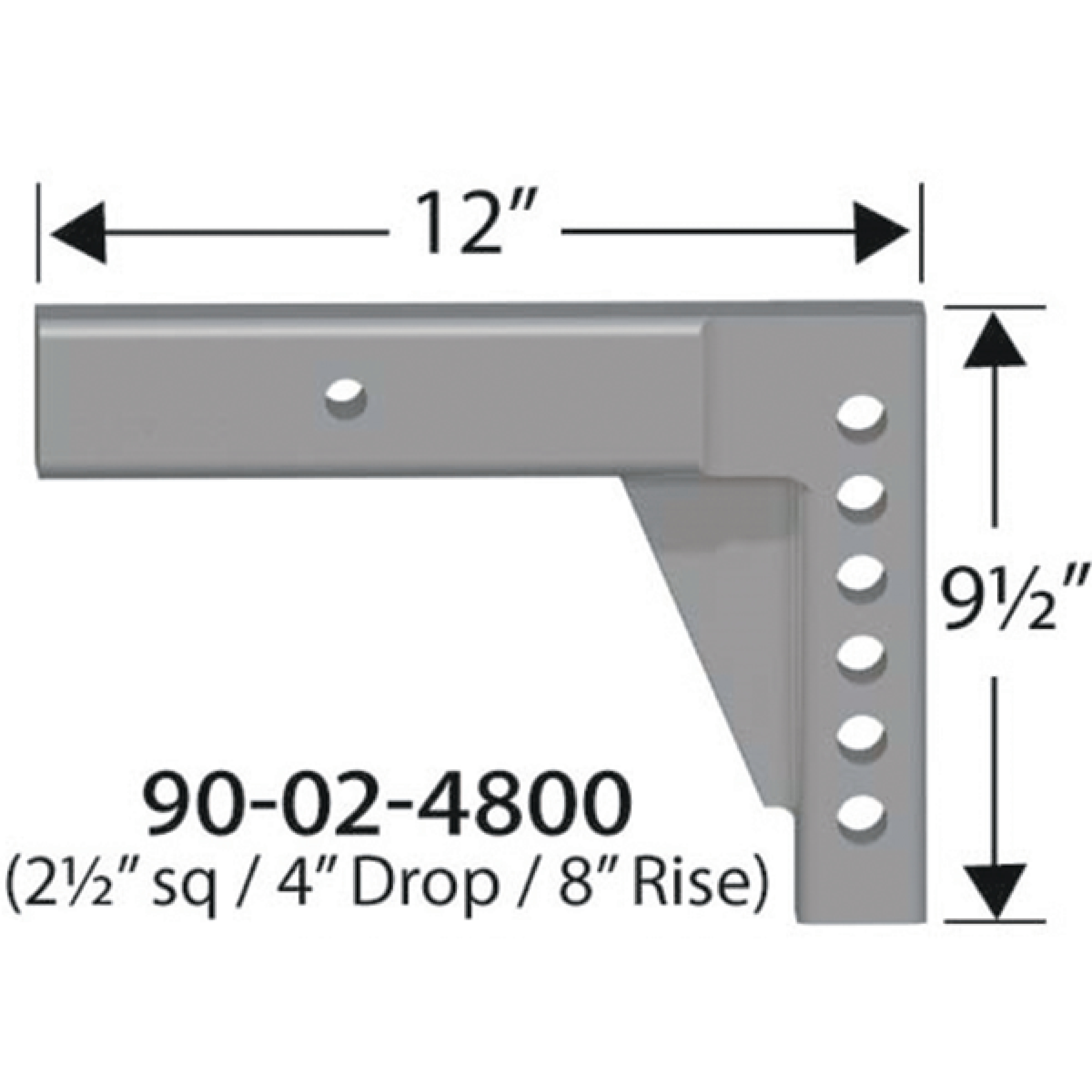 "Progress Mfg 90-02-4800 Equal-i-zer 2-1/2"" Adjustable RV Shank - 4"" Drop, 8"" Rise & 12"" Length"
