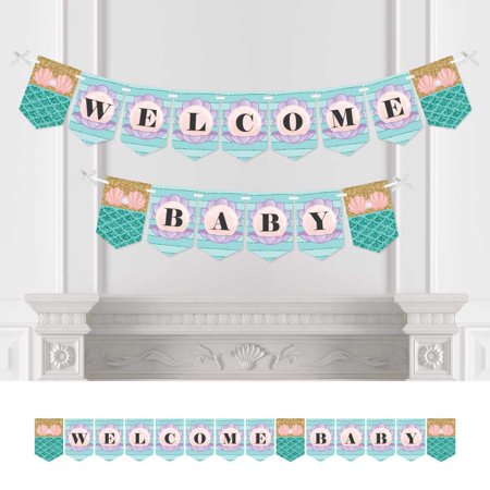 Let's Be Mermaids - Baby Shower Bunting Banner - Welcome Baby Decorations for $<!---->