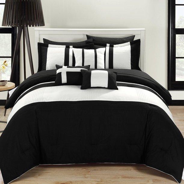 Fiesta Black White 10 Piece Color Block Comforter Bed In A Bag Set Walmart Com Walmart Com