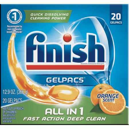Finish All in 1 Gelpacs Orange, 20ct, Dishwasher Detergent Tablets