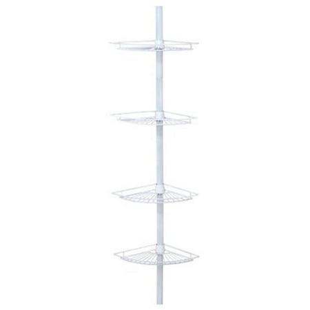 2114W 4 Shelf Deluxe Corner Pole Caddy, White