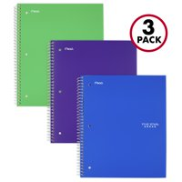 Five Star 1 Subject Wide Ruled Notebook 3 Pack, Assorted Colors (38222)