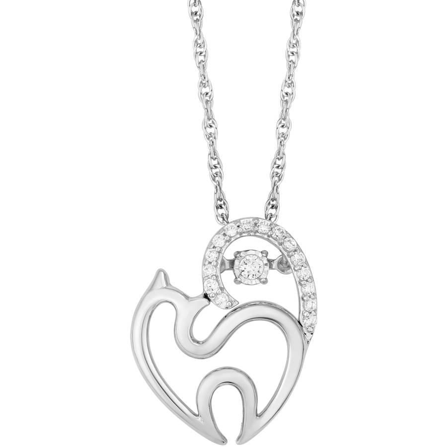 "Carina 1/10 Carat T.W. Diamond Sterling Silver Twinkling Baby Bird Pendant, 18"""