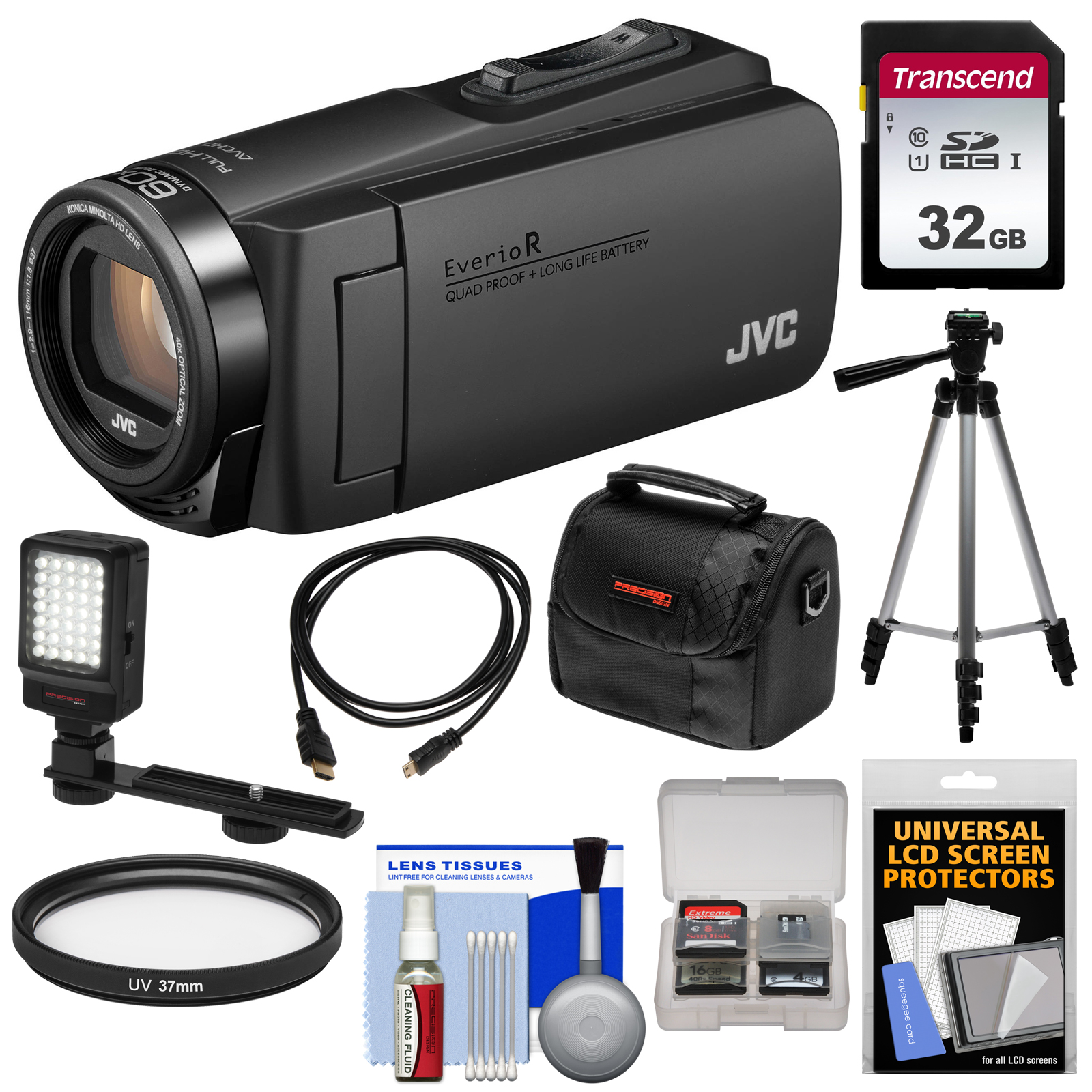 JVC Everio GZ-R460 Quad Proof 1080p HD Video Camera Camcorder (Black) with 32GB Card + LED Light + Tripod + Case + Kit