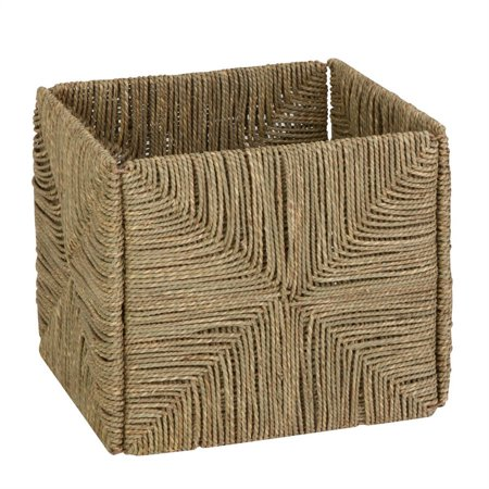 Honey Can Do Folding Seagrass Cube Storage Bin, Brown