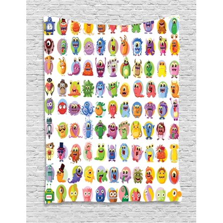 Animation Tapestry Cute Little Graphic Baby Mosters Great For Kids Nursery Room Colored Cartoons Art